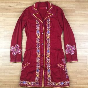 Johnny Was Embroidered Mandala Floral Red Coat XS